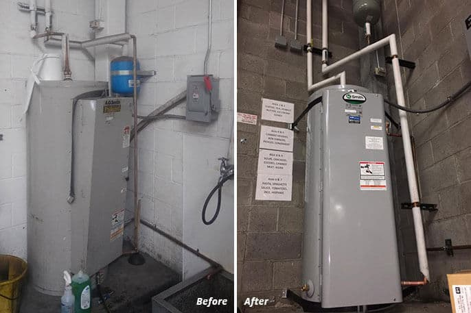 commercial water heater installation before and after